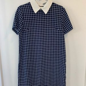 New checker shirt dress with white collar